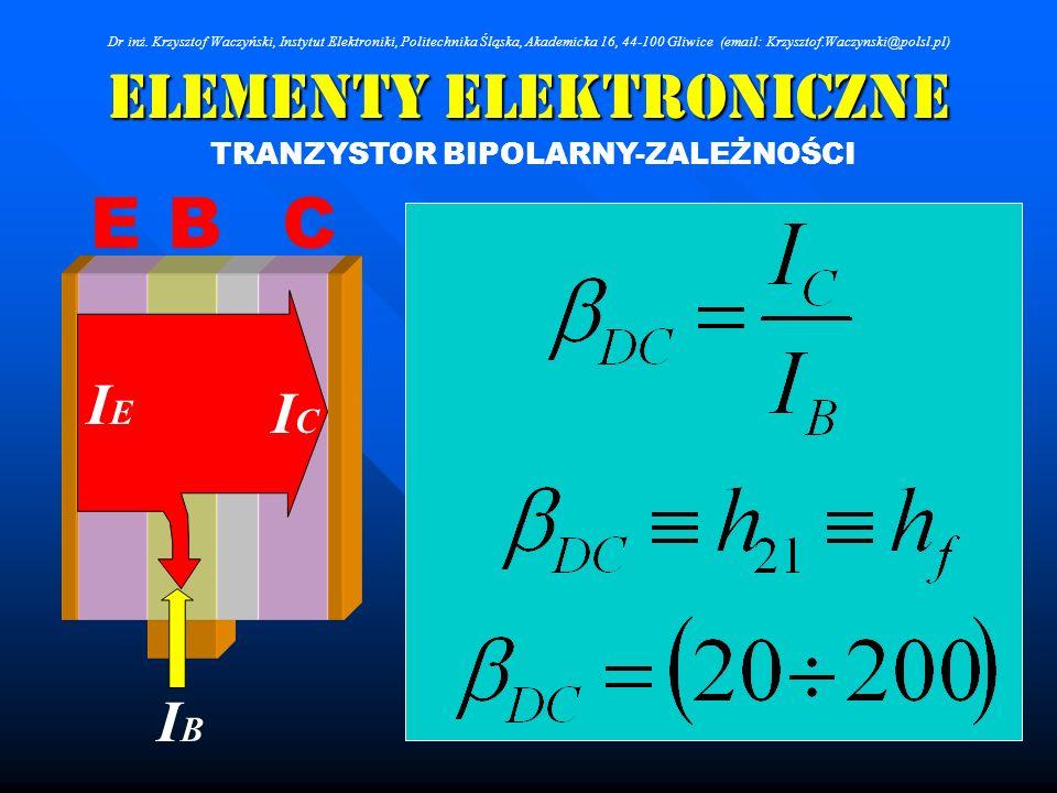 Elementy Elektroniczne TRANZYSTOR BIPOLARNY-ZALEŻNOŚCI Dr inż. Krzysztof Waczyński, Instytut Elektroniki, Politechnika Śląska, Akademicka 16, 44-100 G