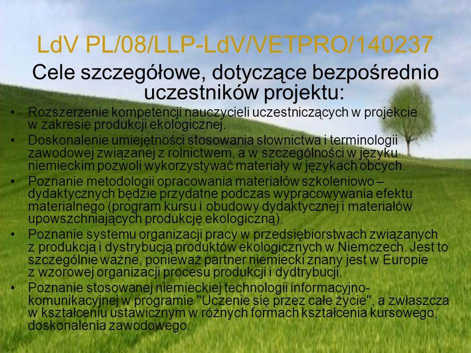 LdV PL/08/LLP-LdV/VETPRO/140237 Pakiet edukacyjny Efekt materialny projektu będzie składał się z następujących elementów: Program szkolenia rolnictwa ekologicznego Materiały informacyjne dotyczące gospodarstw ekologicznych
