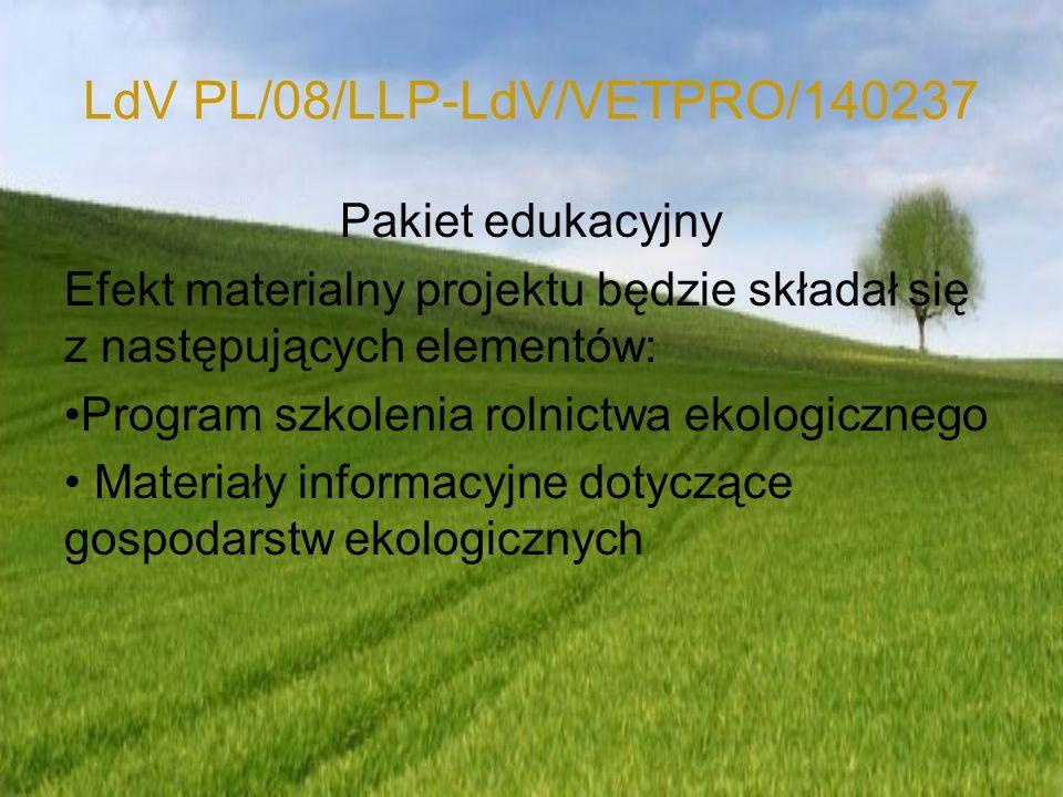 LdV PL/08/LLP-LdV/VETPRO/140237 Materiały informacyjne dotyczące produkcji biopaliw - opracowanie zawierające wybrane informacje dotyczące: Funkcjonowania rolnictwa w Niemczech, Funkcjonowania systemu kształcenia i doskonalenia zawodowego w Niemczech, z uwzględnieniem kształcenia rolników i pracowników sektora rolniczego, Prawnych uwarunkowań produkcji ekologicznej w Polsce Niemczech, Ekologicznych technologii upraw roślin, hodowli zwierząt, Analizy ekonomicznej kosztów i możliwości produkcji, przetwarzania i dystrybucji surowców produkowanych metodami ekologicznymi Systemów certyfikacji gospodarstw i produktów ekologicznych, Rozwoju rynku produktów ekologicznych w Europie, Niemczech i Polsce, Upowszechniania idei produkcji i konsumpcji żywności ekologicznej.