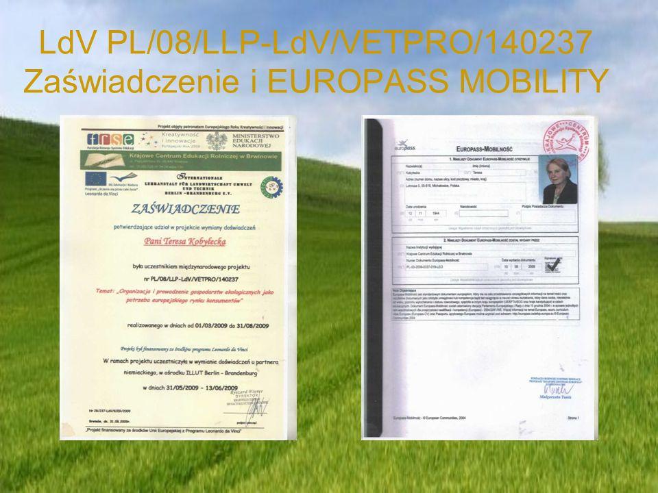 LdV PL/08/LLP-LdV/VETPRO/140237 Zaświadczenie i EUROPASS MOBILITY