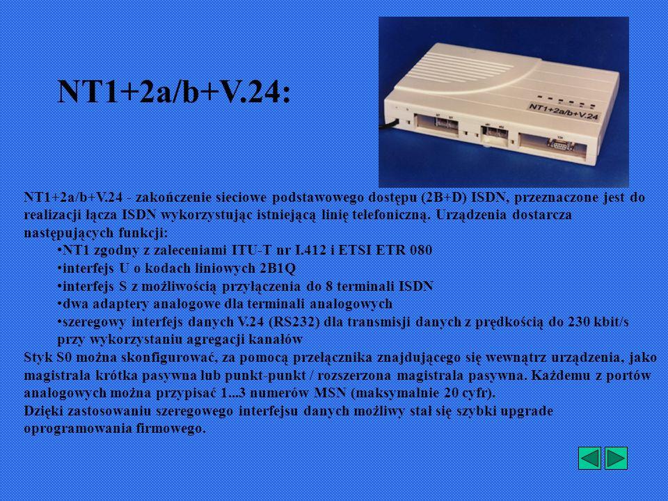 NT1+2a/b+V.24 - zakończenie sieciowe podstawowego dostępu (2B+D) ISDN, przeznaczone jest do realizacji łącza ISDN wykorzystując istniejącą linię telefoniczną.
