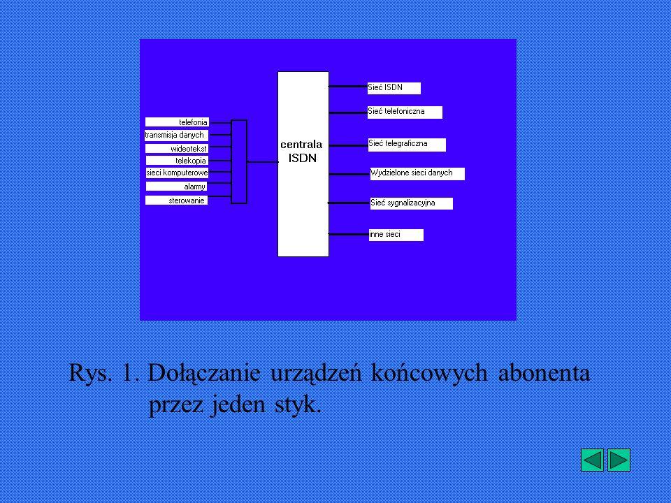 Rys. 1. Dołączanie urządzeń końcowych abonenta przez jeden styk.