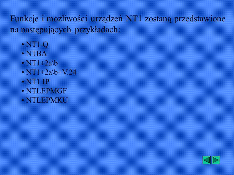 NT1-Q firmy Bosch Telecom składa się z czterech podstawowych zespołów funkcjonalnych: Zespół interfejsu U Zespół ten stanowi zakończenie łącza U (łącze pomiędzy centralą a siedzibą abonenta), oraz zawiera sprzęgający obwód zdalnego zasilania.