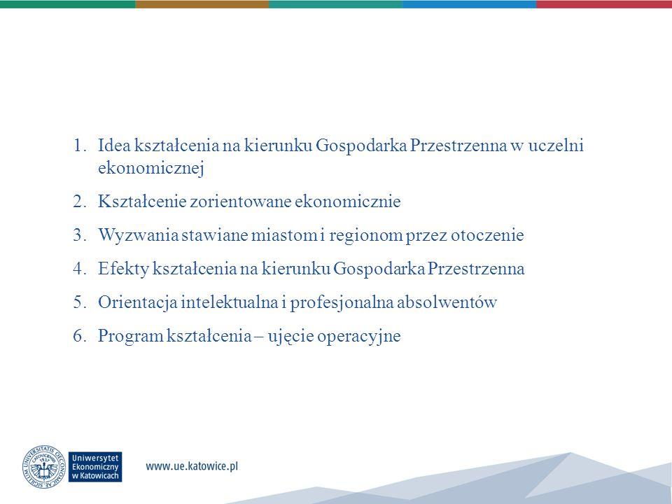 1.Idea kształcenia na kierunku Gospodarka Przestrzenna w uczelni ekonomicznej 2.Kształcenie zorientowane ekonomicznie 3.Wyzwania stawiane miastom i re