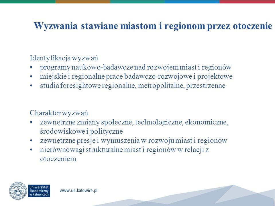 Wyzwania stawiane miastom i regionom przez otoczenie Identyfikacja wyzwań programy naukowo-badawcze nad rozwojem miast i regionów miejskie i regionaln