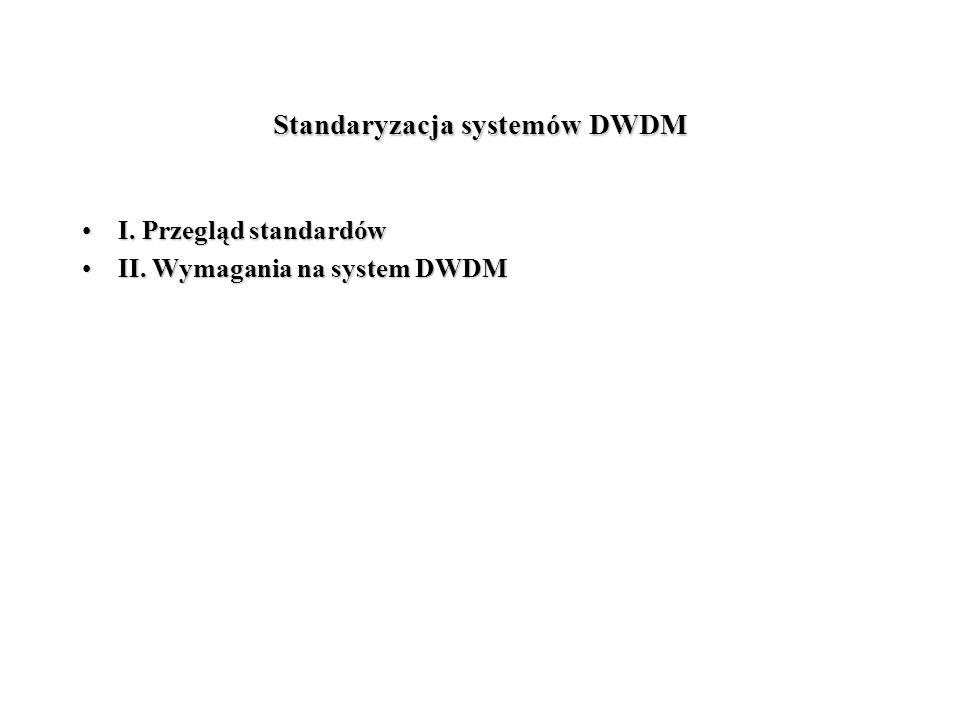 Standaryzacja systemów DWDM I. Przegląd standardówI. Przegląd standardów II. Wymagania na system DWDMII. Wymagania na system DWDM