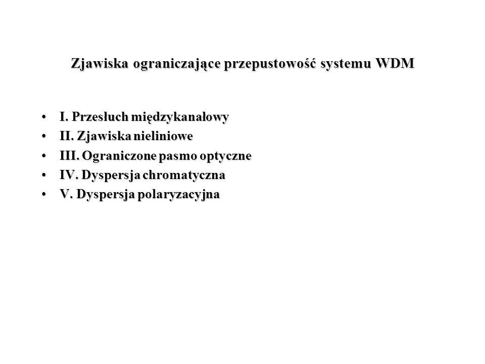 Zjawiska ograniczające przepustowość systemu WDM I. Przesłuch międzykanałowyI. Przesłuch międzykanałowy II. Zjawiska nielinioweII. Zjawiska nieliniowe