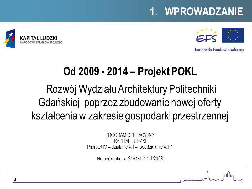 3 Od 2009 - 2014 – Projekt POKL Rozwój Wydziału Architektury Politechniki Gdańskiej poprzez zbudowanie nowej oferty kształcenia w zakresie gospodarki