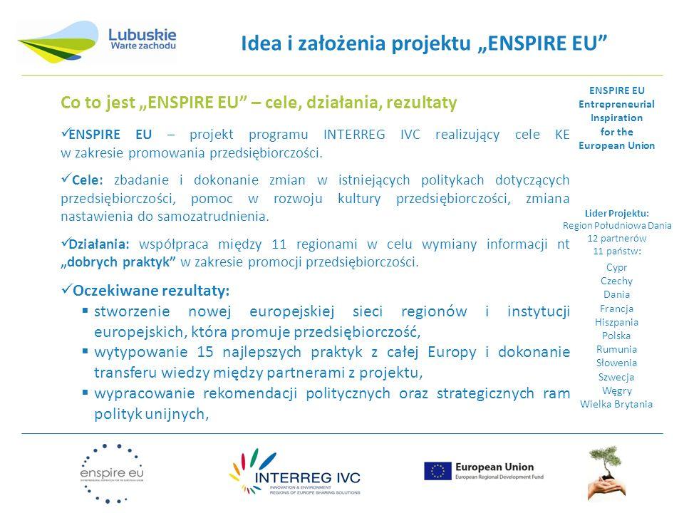 Idea i założenia projektu ENSPIRE EU Trzy grupy docelowe w projekcie: pokrzywdzeni przez los - imigranci, niepełnosprawni i/lub w mniej rozwiniętych regionach kobiety, w tym powracające do pracy po urlopie macierzyńskim, zniechęceni - uczniowie szkół ponadpodstawowych, którzy porzucili szkołę, którym nie wszczepiono idei przedsiębiorczości, wykluczeni (pozbawieni złudzeń) - osoby długotrwale bezrobotne, bez wykształcenia, starsze, które wypadły z rynku pracy.