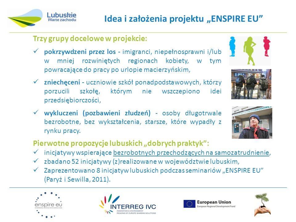Idea i założenia projektu ENSPIRE EU Trzy grupy docelowe w projekcie: pokrzywdzeni przez los - imigranci, niepełnosprawni i/lub w mniej rozwiniętych r
