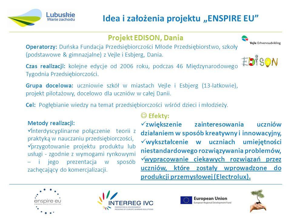 Idea i założenia projektu ENSPIRE EU Operatorzy: Duńska Fundacja Przedsiębiorczości Młode Przedsiębiorstwo, szkoły (podstawowe & gimnazjalne) z Vejle