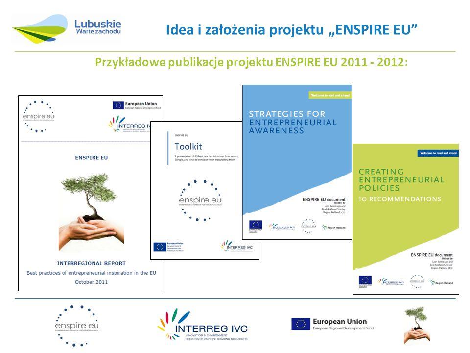 Idea i założenia projektu ENSPIRE EU REKOMENDACJE WYNIKAJĄCE Z PROJEKTU ENSPIRE EU: 10 rekomendacji dla polityk regionalnych w UE w zakresie promocji przedsiębiorczości wypracowanych w ramach projektu ENSPIRE EU: 10 praktycznych wskazówek dla decydentów politycznych czym kierować się tworząc regionalne polityki przedsiębiorczości m.in.