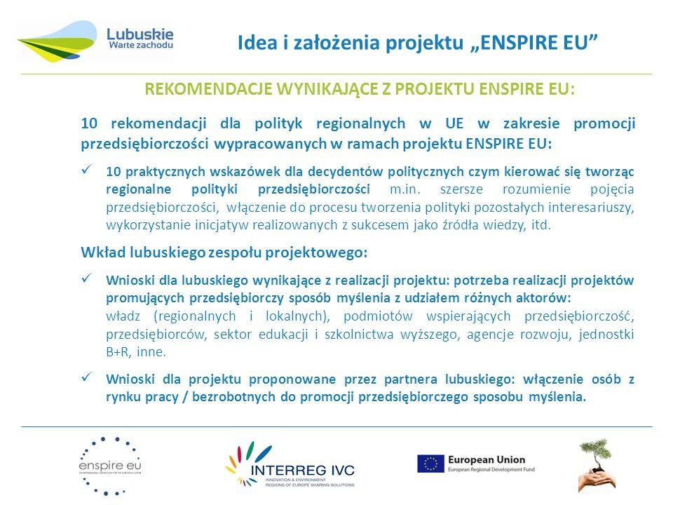 Idea i założenia projektu ENSPIRE EU REKOMENDACJE WYNIKAJĄCE Z PROJEKTU ENSPIRE EU: 10 rekomendacji dla polityk regionalnych w UE w zakresie promocji