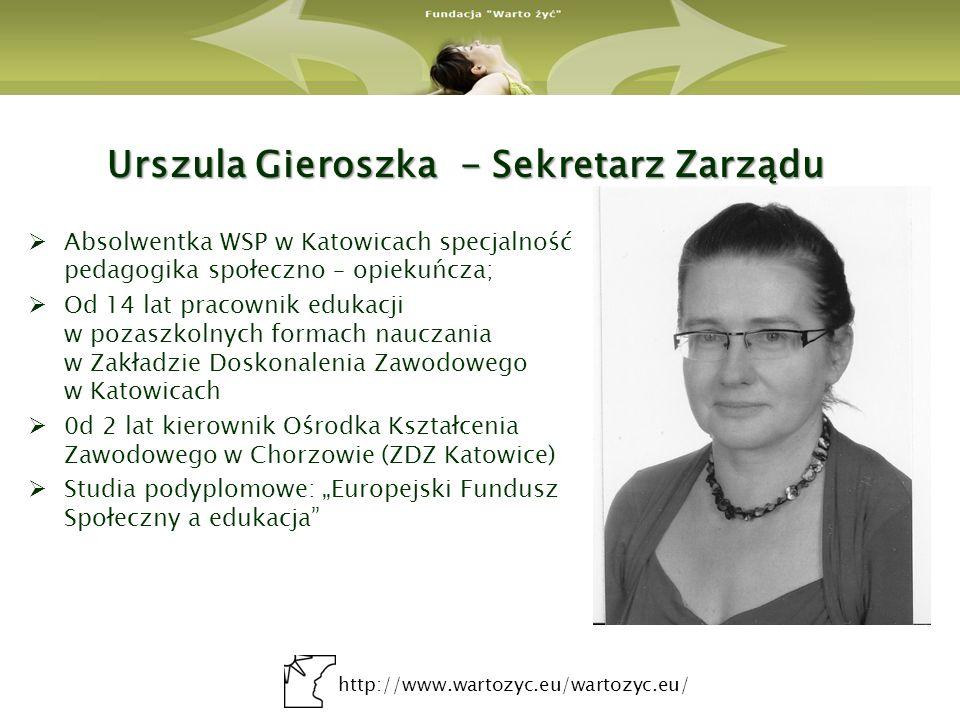 http://www.wartozyc.eu/wartozyc.eu/ Urszula Gieroszka - Sekretarz Zarządu Absolwentka WSP w Katowicach specjalność pedagogika społeczno – opiekuńcza;