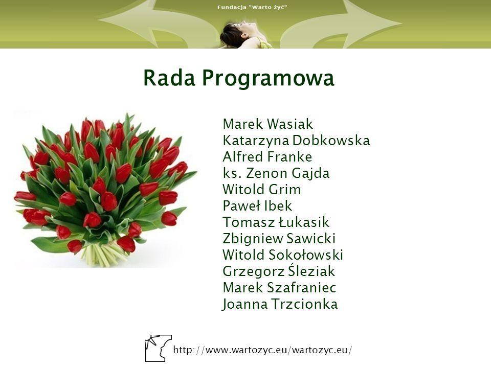 http://www.wartozyc.eu/wartozyc.eu/ Rada Programowa Marek Wasiak Katarzyna Dobkowska Alfred Franke ks. Zenon Gajda Witold Grim Paweł Ibek Tomasz Łukas