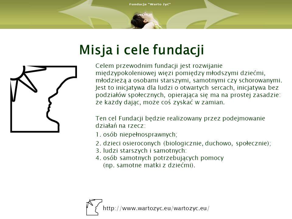 http://www.wartozyc.eu/wartozyc.eu/ Misja i cele fundacji Celem przewodnim fundacji jest rozwijanie międzypokoleniowej więzi pomiędzy młodszymi dziećm