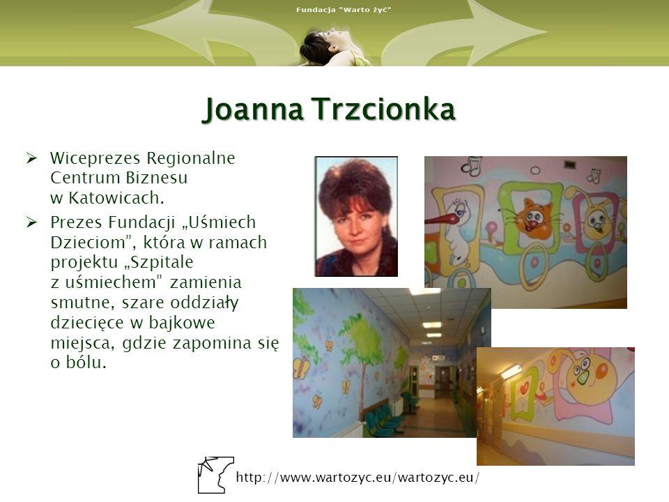 http://www.wartozyc.eu/wartozyc.eu/ Joanna Trzcionka Wiceprezes Regionalne Centrum Biznesu w Katowicach. Prezes Fundacji Uśmiech Dzieciom, która w ram