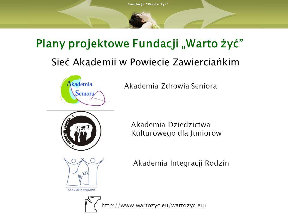 http://www.wartozyc.eu/wartozyc.eu/ Plany projektowe Fundacji Warto żyć Sieć Akademii w Powiecie Zawierciańkim Akademia Zdrowia Seniora Akademia Dzied
