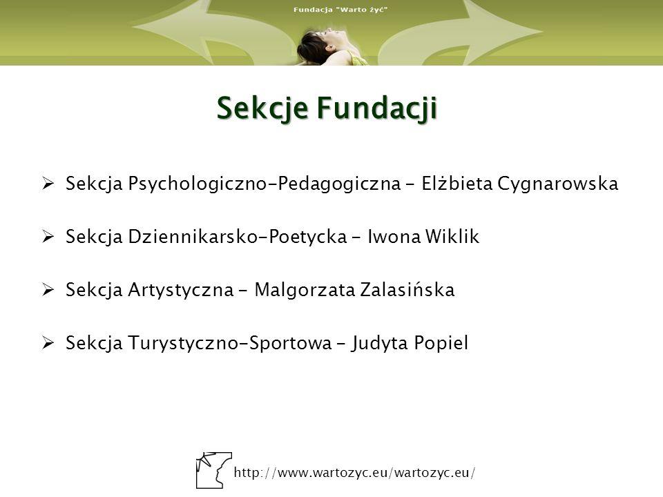 http://www.wartozyc.eu/wartozyc.eu/ Sekcje Fundacji Sekcja Psychologiczno-Pedagogiczna - Elżbieta Cygnarowska Sekcja Dziennikarsko-Poetycka - Iwona Wi