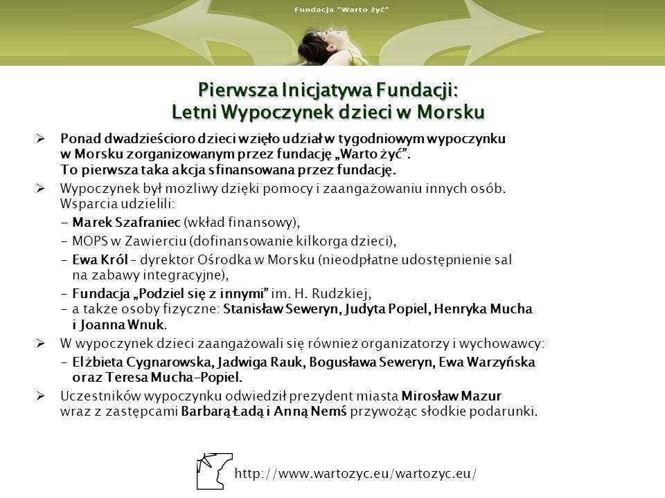 http://www.wartozyc.eu/wartozyc.eu/ Pierwsza Inicjatywa Fundacji: Letni Wypoczynek dzieci w Morsku Ponad dwadzieścioro dzieci wzięło udział w tygodnio