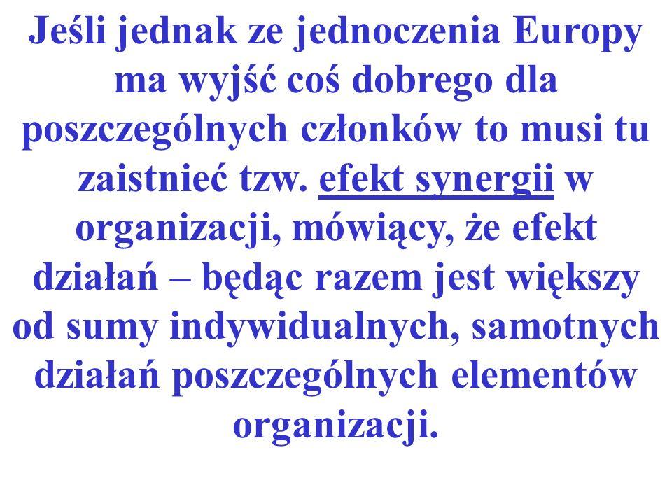 Jeśli jednak ze jednoczenia Europy ma wyjść coś dobrego dla poszczególnych członków to musi tu zaistnieć tzw. efekt synergii w organizacji, mówiący, ż