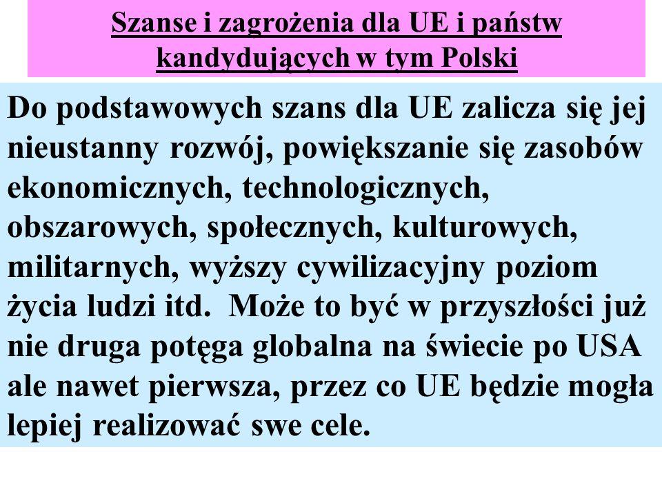 Szanse i zagrożenia dla UE i państw kandydujących w tym Polski Do podstawowych szans dla UE zalicza się jej nieustanny rozwój, powiększanie się zasobó