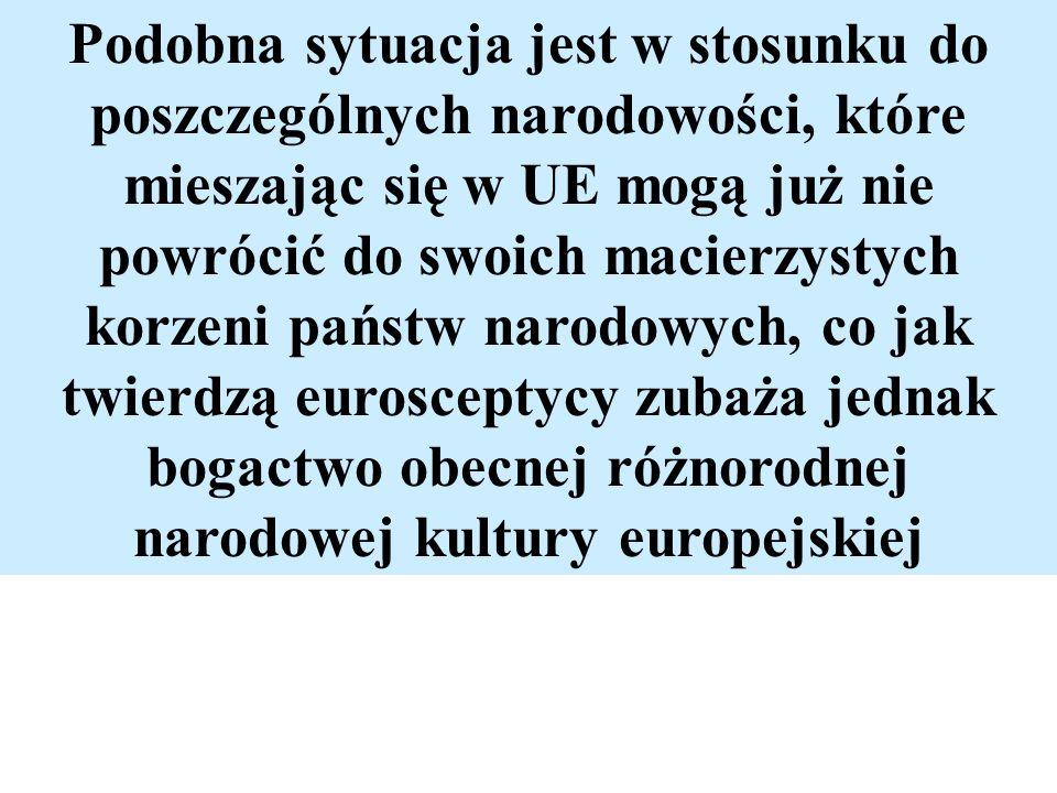 Podobna sytuacja jest w stosunku do poszczególnych narodowości, które mieszając się w UE mogą już nie powrócić do swoich macierzystych korzeni państw