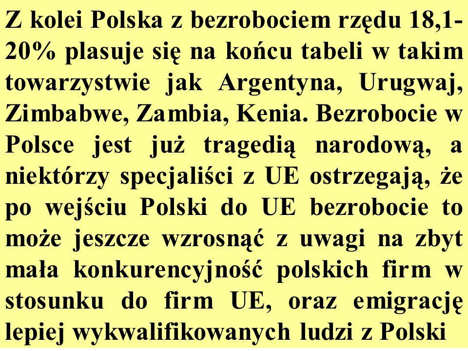 Z kolei Polska z bezrobociem rzędu 18,1- 20% plasuje się na końcu tabeli w takim towarzystwie jak Argentyna, Urugwaj, Zimbabwe, Zambia, Kenia. Bezrobo
