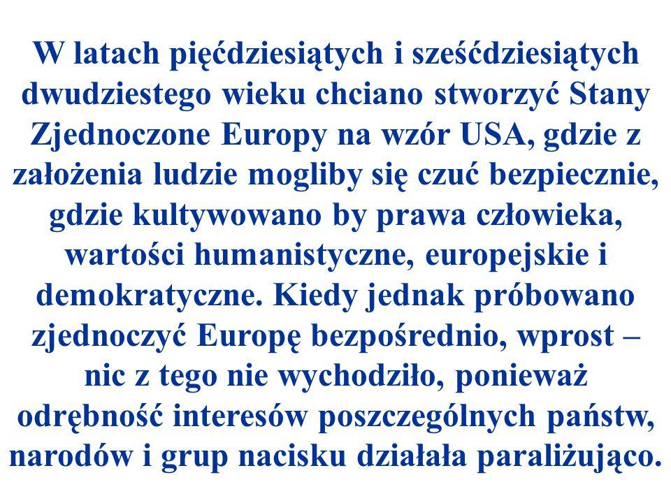 Natomiast jednoczenie Europy udawało się skutecznie wtedy, gdy apelowano do realizacji konkretnych wspólnych interesów, wymiernych rzeczy, korzystnych dla wszystkich, poczynając od Wspólnoty Węgla i Stali w latach pięćdziesiątych i sześćdziesiątych XX wieku (01 03.06.1955 konferencja ministrów spraw zagranicznych państw EWWiS w Messynie dla integracji gospodarczej), kończąc na obecnym kształcie UE i Traktacie Akcesyjnym (z 16.04.2003 r.) dla dziesięciu nowych państw kandydujących do członkostwa w UE, w którym także szczegółowo zaznaczono w wielotomowym dokumencie obszary współpracy pomiędzy poszczególnymi krajami w UE w przyszłości.
