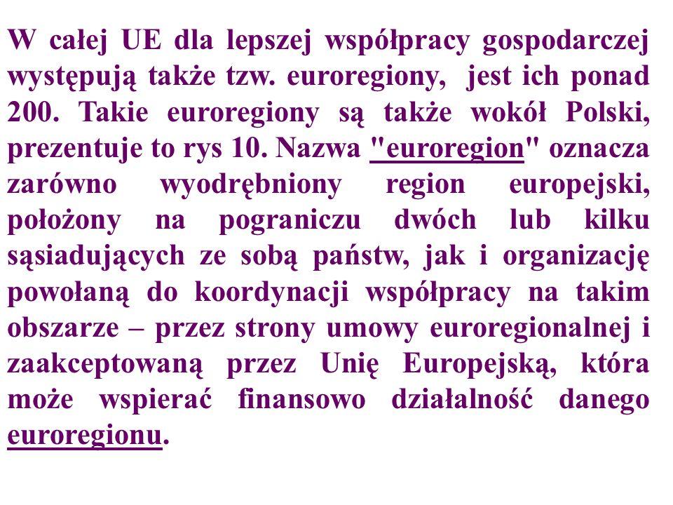 W całej UE dla lepszej współpracy gospodarczej występują także tzw. euroregiony, jest ich ponad 200. Takie euroregiony są także wokół Polski, prezentu