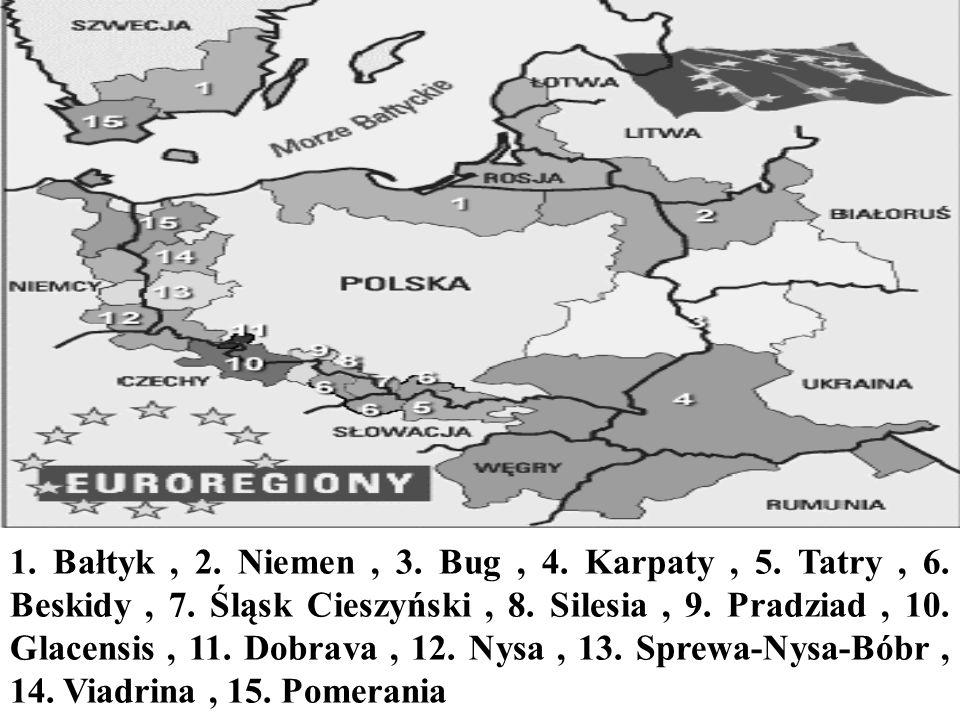 1. Bałtyk, 2. Niemen, 3. Bug, 4. Karpaty, 5. Tatry, 6. Beskidy, 7. Śląsk Cieszyński, 8. Silesia, 9. Pradziad, 10. Glacensis, 11. Dobrava, 12. Nysa, 13