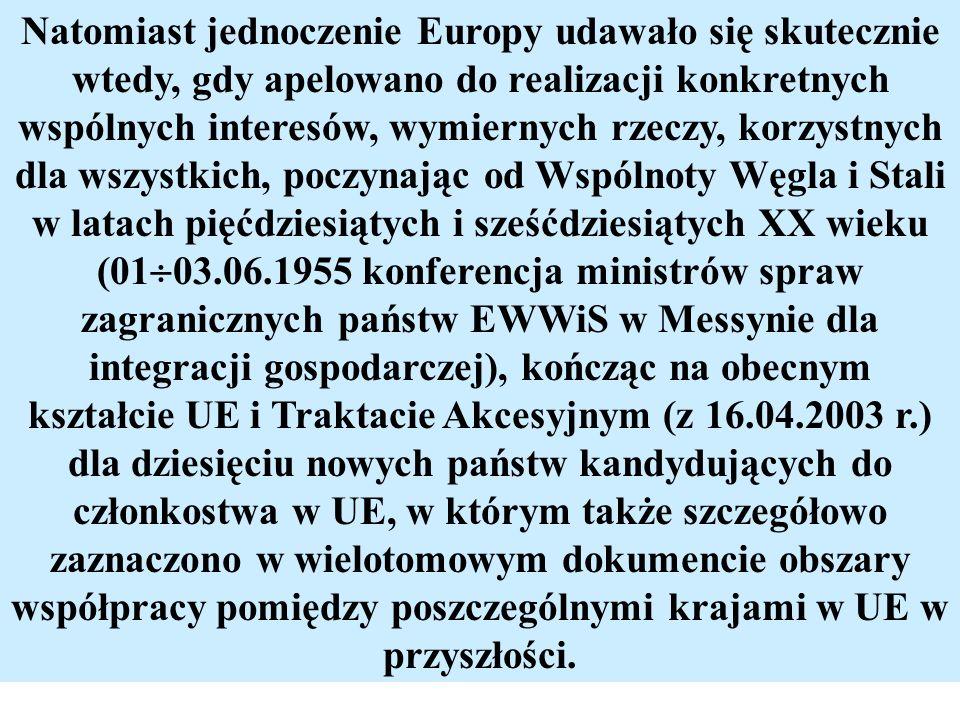 Natomiast jednoczenie Europy udawało się skutecznie wtedy, gdy apelowano do realizacji konkretnych wspólnych interesów, wymiernych rzeczy, korzystnych
