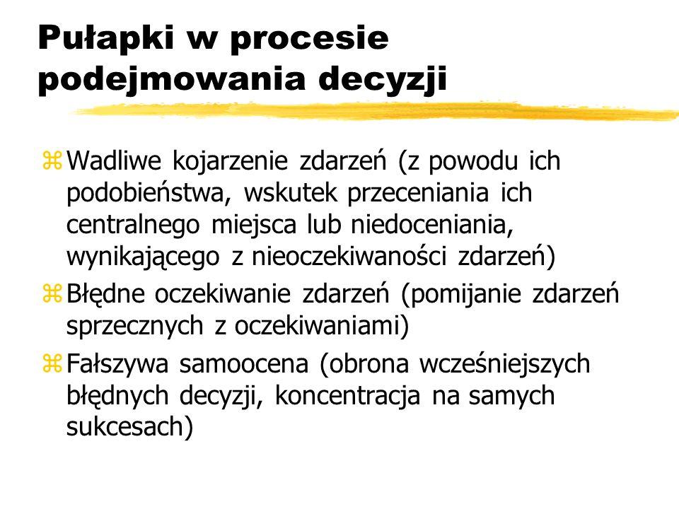Racjonalny proces podejmowania decyzji zEtap 1 - Badanie sytuacji èdefinicja problemu èidentyfikacja celów decyzji èdiagnoza przyczyn z Etap 2 - Opracowanie wariantów rozwiązań è liczne warianty, bez oceny