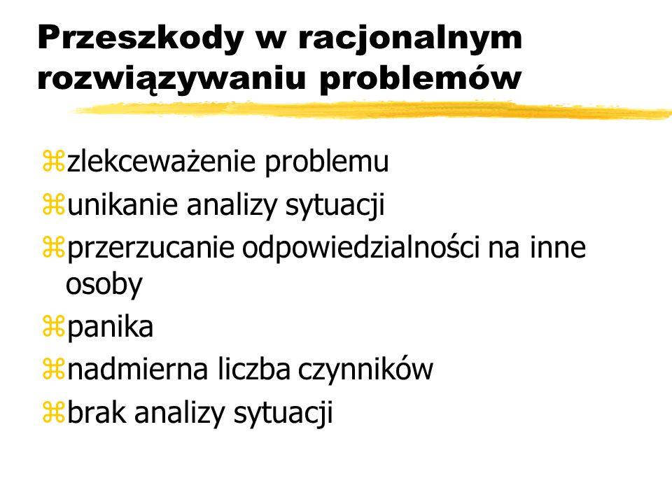 Przeszkody w racjonalnym rozwiązywaniu problemów zzlekceważenie problemu zunikanie analizy sytuacji zprzerzucanie odpowiedzialności na inne osoby zpanika znadmierna liczba czynników zbrak analizy sytuacji