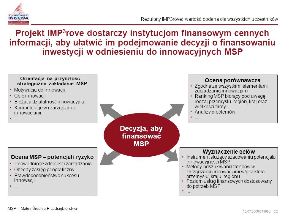 22 10/07.2006/24885d Projekt IMP 3 rove dostarczy instytucjom finansowym cennych informacji, aby ułatwić im podejmowanie decyzji o finansowaniu inwest