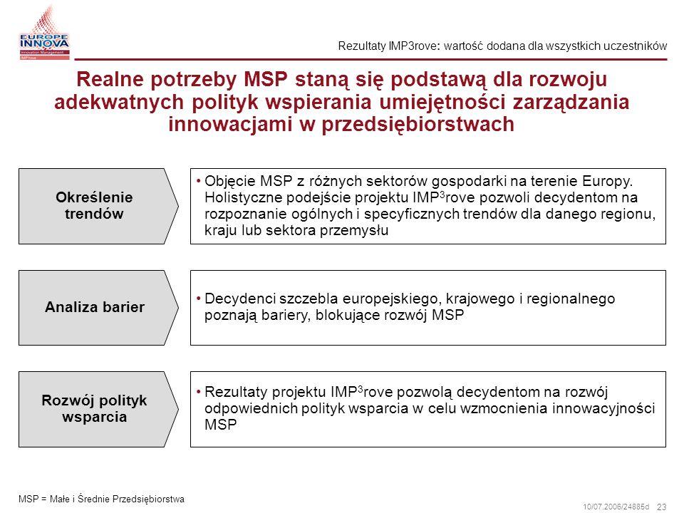 23 10/07.2006/24885d Realne potrzeby MSP staną się podstawą dla rozwoju adekwatnych polityk wspierania umiejętności zarządzania innowacjami w przedsię