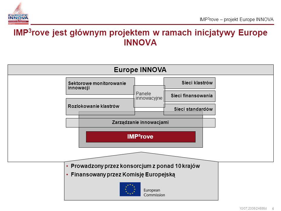 4 10/07.2006/24885d IMP 3 rove jest głównym projektem w ramach inicjatywy Europe INNOVA IMP 3 rove – projekt Europe INNOVA Europe INNOVA Sektorowe mon