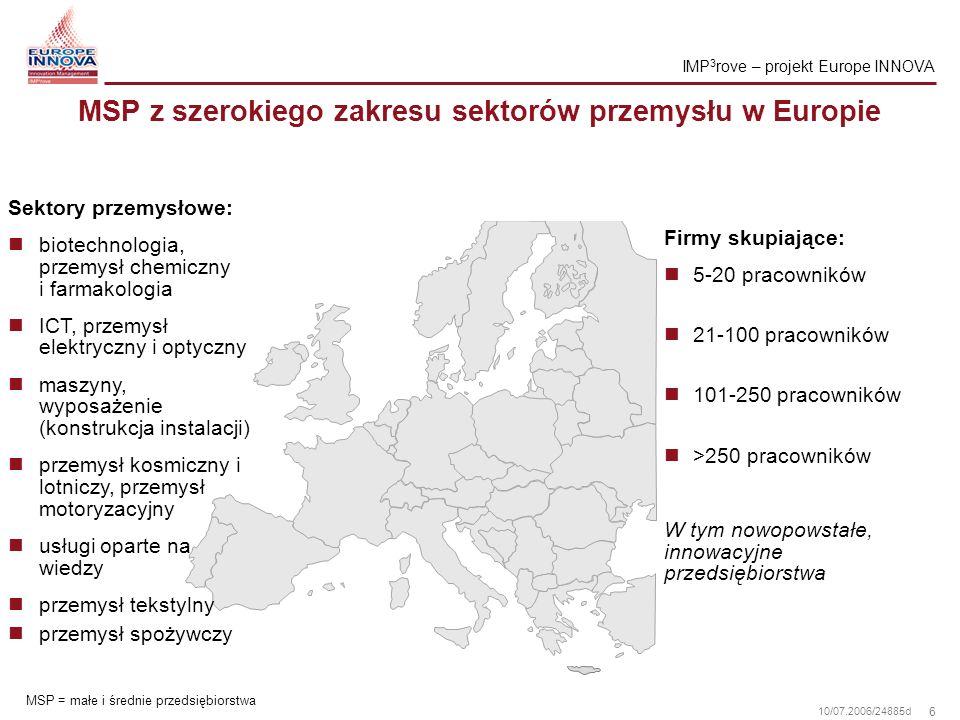 7 10/07.2006/24885d Realizacja projektu IMP 3 rove podniesie wydajność zarządzania innowacjami w Europie Cele IMP 3 rove Rozwój nowych, lepszych narzędzi zarządzania innowacjami stosowanych przez MSP Kreowanie najlepszych praktyk w zarządzaniu innowacjami przez MSP w Unii Europejskiej Kreowanie sieci instytucji doradczych gotowych do dzielenia się najlepszymi praktykami w zakresie usług świadczonych na rzecz MSP Silne i wczesne angażowanie MSP i pośredników zarządzania innowacjami Dostarczenie konkretnych wskazówek dla instytucji finansowych w celu ewaluacji potencjału zarządzania innowacjami i ryzyka finansowego MSP Wskazanie decydentom potrzeb innowacyjnych MSP dla prowadzenia skutecznej polityki innowacyjnej Integracja z innymi inicjatywami Europa INNOVA ID = Instytucje Doradcze w zakresie ZI ZI = Zarządzanie Innowacjami MSP = Małe i Średnie Przedsiębiorstwa IMP 3 rove – projekt Europe INNOVA