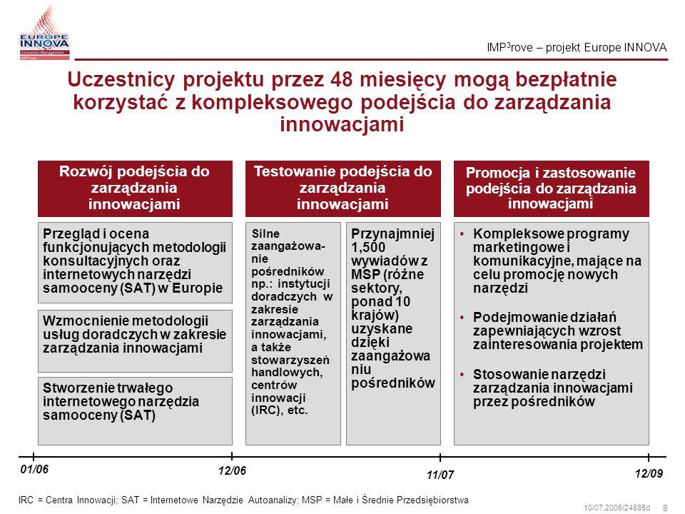 19 10/07.2006/24885d Rezultaty projektu IMP 3 rove: Wartość dodana dla wszystkich uczestników
