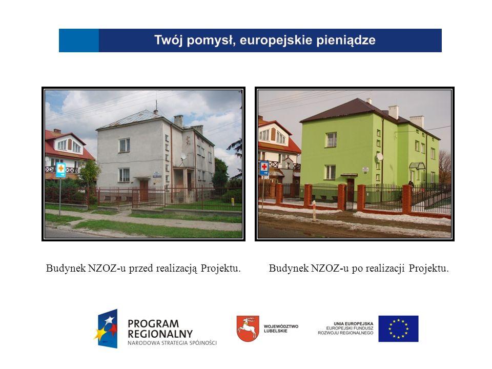 Budynek NZOZ-u przed realizacją Projektu.Budynek NZOZ-u po realizacji Projektu.