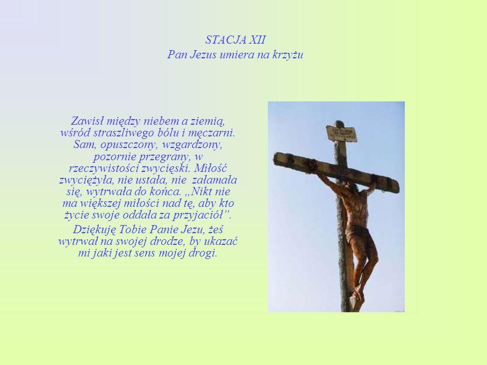 STACJA XI Pan Jezus przybity do krzyża A po tym wszystkim przyszło twarde drzewo krzyża, zardzewiałe gwoździe i ciężki młot. W ten sposób dopełniła si