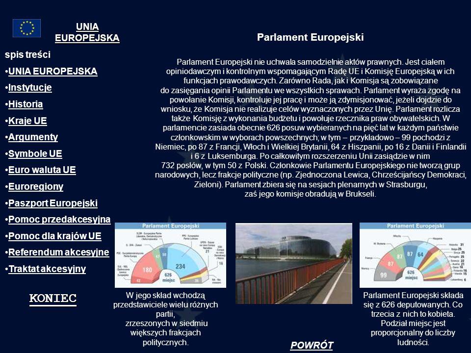 Parlament Europejski Parlament Europejski nie uchwala samodzielnie aktów prawnych. Jest ciałem opiniodawczym i kontrolnym wspomagającym Radę UE i Komi