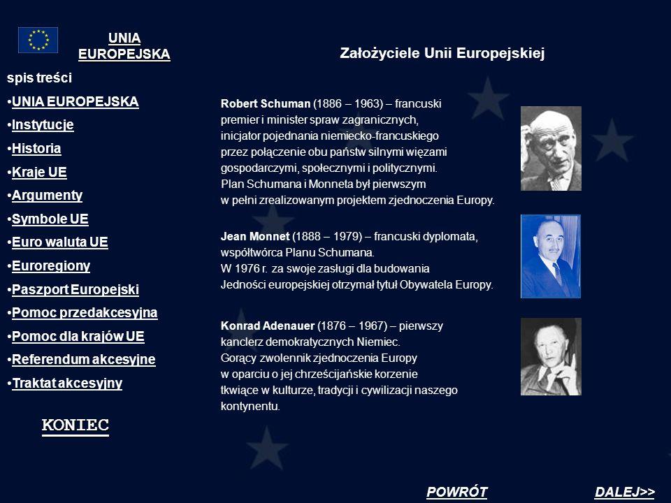 Założyciele Unii Europejskiej Robert Schuman (1886 – 1963) – francuski premier i minister spraw zagranicznych, inicjator pojednania niemiecko-francusk
