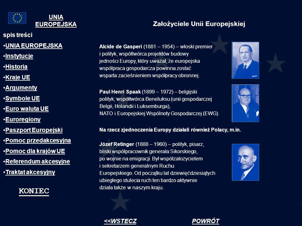 Założyciele Unii Europejskiej Alcide de Gasperi (1881 – 1954) – włoski premier i polityk, współtwórca projektów budowy jedności Europy, który uważał,