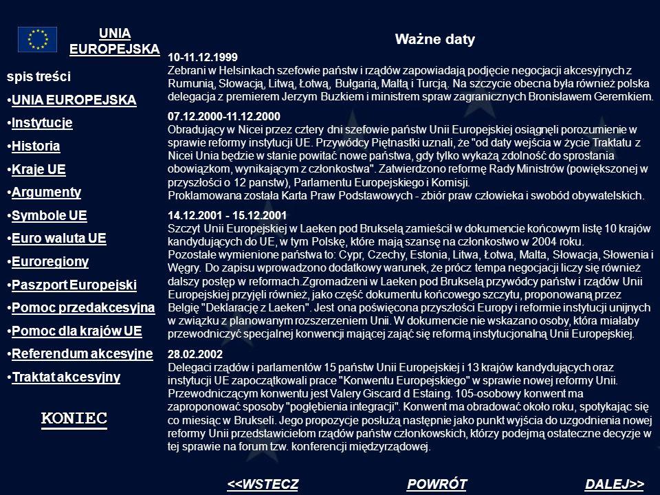 Ważne daty spis treści UNIA EUROPEJSKA Instytucje Historia Kraje UE Argumenty Symbole UE Euro waluta UE Euroregiony Paszport Europejski Pomoc przedakc