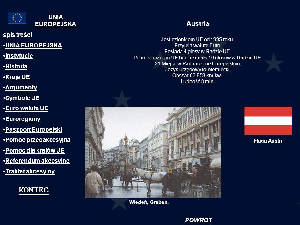 Austria Jest członkiem UE od 1995 roku. Przyjęła walutę Euro. Posiada 4 głosy w Radzie UE. Po rozszerzeniu UE będzie miała 10 głosów w Radzie UE. 21 M
