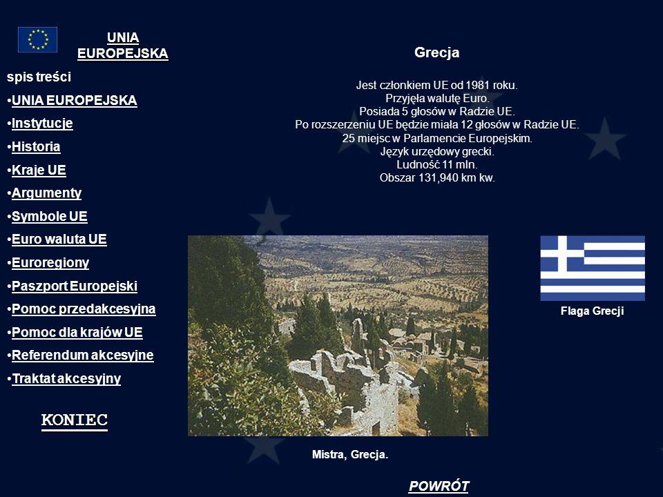 Grecja Jest członkiem UE od 1981 roku. Przyjęła walutę Euro. Posiada 5 głosów w Radzie UE. Po rozszerzeniu UE będzie miała 12 głosów w Radzie UE. 25 m
