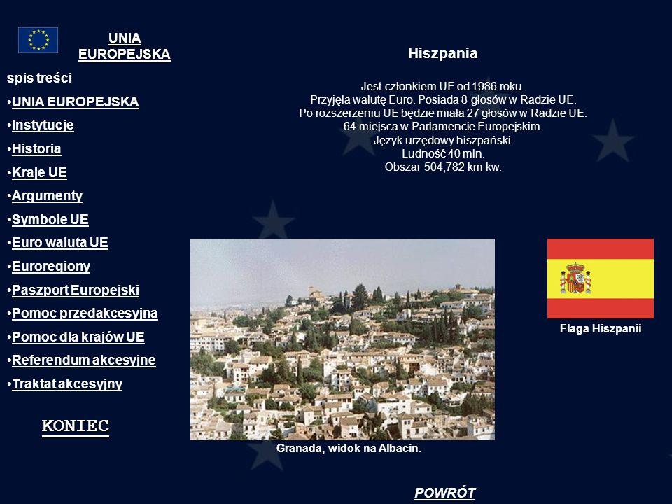 Hiszpania Jest członkiem UE od 1986 roku. Przyjęła walutę Euro. Posiada 8 głosów w Radzie UE. Po rozszerzeniu UE będzie miała 27 głosów w Radzie UE. 6