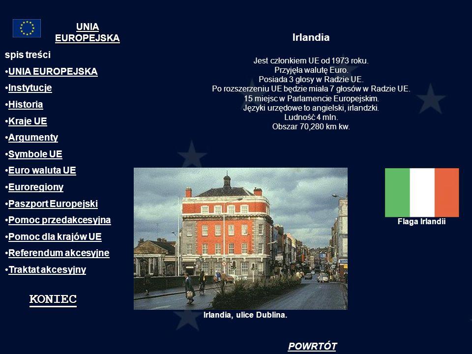 Irlandia Jest członkiem UE od 1973 roku. Przyjęła walutę Euro. Posiada 3 głosy w Radzie UE. Po rozszerzeniu UE będzie miała 7 głosów w Radzie UE. 15 m