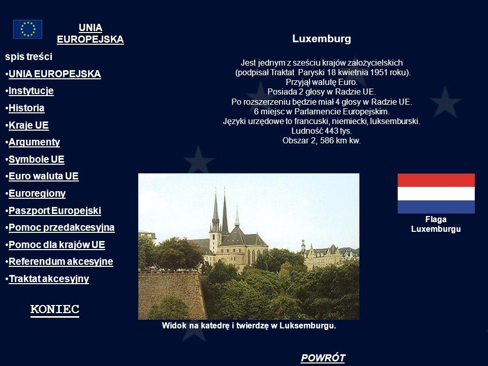Luxemburg Jest jednym z sześciu krajów założycielskich (podpisał Traktat Paryski 18 kwietnia 1951 roku). Przyjął walutę Euro. Posiada 2 głosy w Radzie